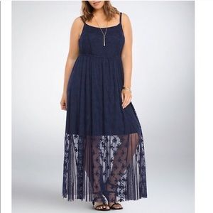 Torrid Lace Mesh Maxi Dress Navy Blue